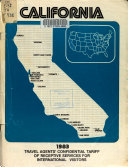 Travel Agent s Confidential Tariff of Receptive Services in California for International Visitors