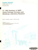 FY 1985 Summary of WIPP Waste Package Corrosion and Metallurgy Laboratory Research