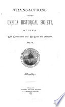Transactions of the Oneida Historical Society at Utica Book