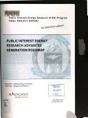 Public Interest Energy Research Advanced Power Generation Roadmap Book PDF