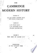 The Cambridge Modern History  The age of Louis XIV