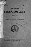 Bulletin Of Berea College And Allied Schools
