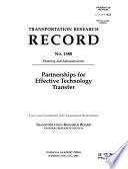 Partnerships for Effective Technology Transfer