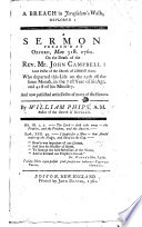 A Breach in Jerusalem s Walls deplored  A sermon  on Sam  ii  13  preach d     on the death of J  Campbell  etc