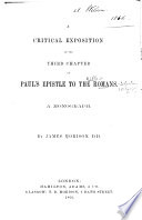 A Critical Exposition Of The Third Chapter Of St Paul S Epistle To The Romans