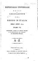 Repertorio universale della legislazione pel regno d'Italia dell' anno 1802