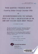 Accelerated abbreviated Test Methods  Study 4 of Task 3  encapsulation  of the Low cost Silicon Solar Array Project Book