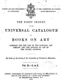 The First Proofs of the Universal Catalogue of Books on Art Compiled for the Use of the National Art Library and the Schools of Art in the United Kingdom