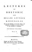 Lectures on Rhetoric and Belles Lettres. Vol. 1 [-3] By Hugh Blair..
