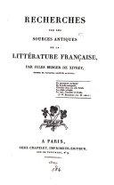 Recherches sur les sources antiques de la littérature française