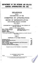 Department of the Interior and Related Agencies Appropriations for 1992