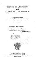 Essays in Criticism and Comparative Poetics