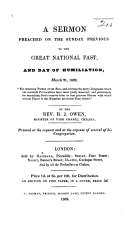 A Sermon preached on the Sunday previous to the Great National Fast and Day of Humiliation, March 21, 1832