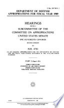 Department of Defense Appropriations for Fiscal Year 1989