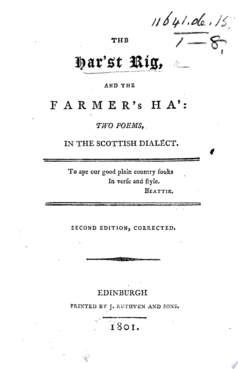 The Har'st Rig, and the Farmer's Ha': Two Poems in the Scottish Dialect. Second Edition Corrected image