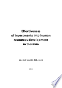 Effectiveness of investments into human resources development in Slovakia Book