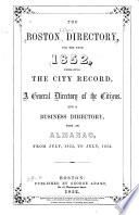 The Boston Directory for the Year 1852