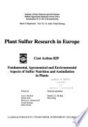 Plant Sulfur Research in Europe