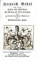 Heinrich Bebel nach Leben und Schriften