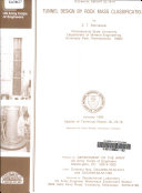 Tunnel Design by Rock Mass Classifications Book