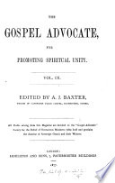 The Gospel Advocate For Promoting Spiritual Unity Ed By A J Baxter