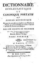 Dictionnaire ecclésiastique et canonique portatif