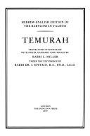Hebrew-English Edition of the Babylonian Talmud: Temurah, Kerithoth, Meʻilah, Kinnim, Tamid, Middoth