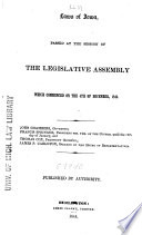 Laws Of Iowa Passed At The Session Of The Legislative Assembly Which Commenced On The 4th Of December 1843