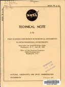 First Planning Conference On Biomedical Experiments In Extraterrestrial Environments Book PDF