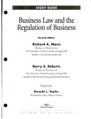 Business Law and the Regulation of Business Book