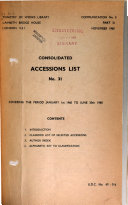 Consolidated Accessions List