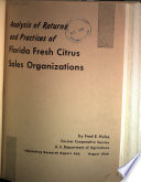 Analysis of Returns and Practices of Florida Fresh Citrus Sales Organizations