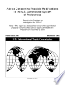 Advice Concerning Possible Modifications To The U S Generalized System Of Preferences Inv 332 447