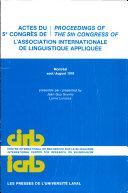 Actes Du 5e Congrès de L'Association Internationale de Linguistique Appliquée