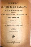 Hinrichs' fünfjähriger Katalog Verzeichnis der im deutschen Buchhandel erschienenen Bücher, Zeitschriften, Landkarten etc