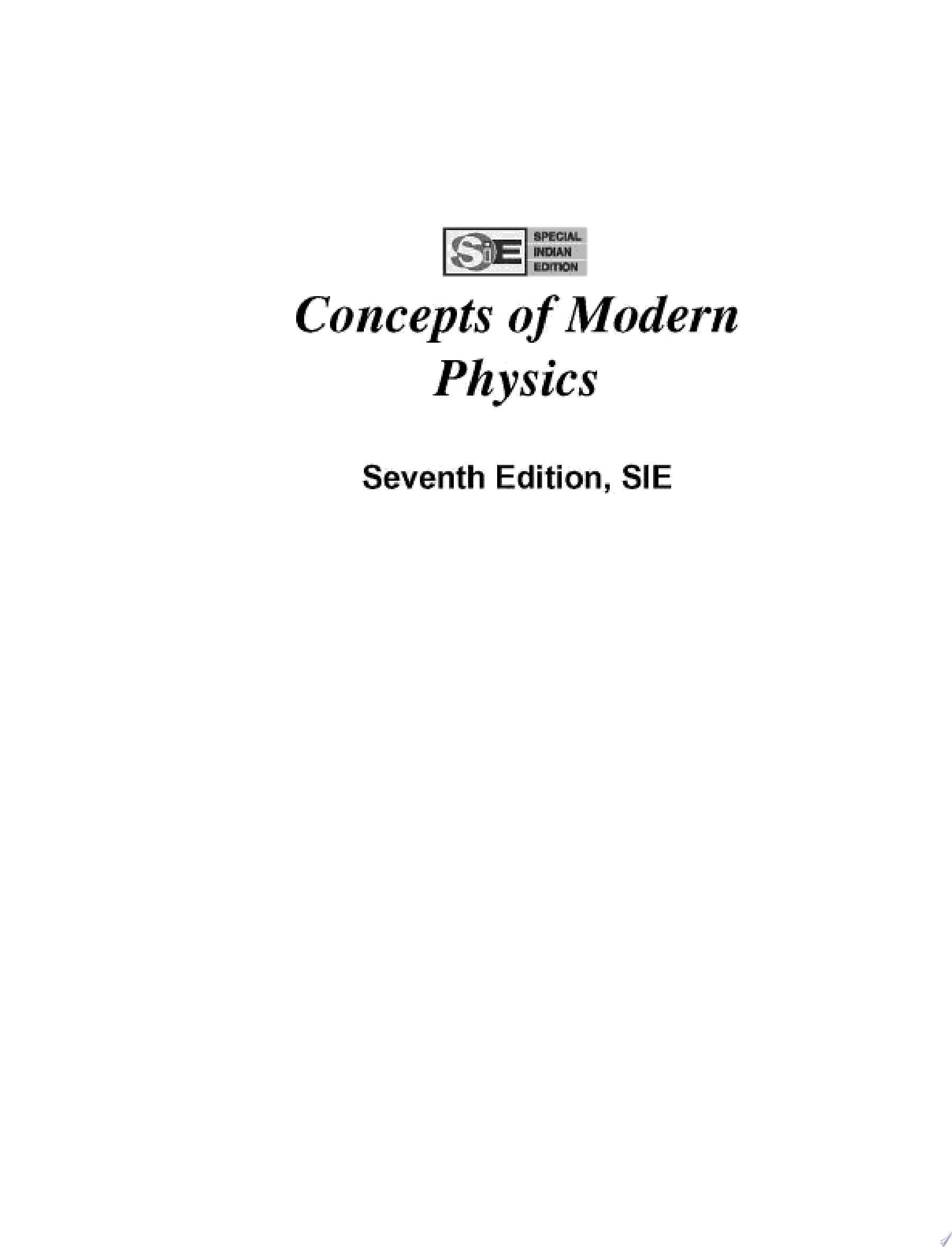 Concepts of Modern Physics  SIE