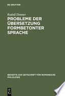Probleme der Übersetzung formbetonter Sprache
