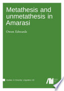 Metathesis and unmetathesis in Amarasi