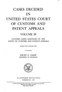 Cases Decided in United States Court of Customs and Patent Appeals