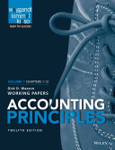 Accounting Principles  12th Edition Volume 1 Working Papers Book