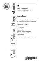 Code of Federal Regulations  Title 7  Agriculture  Pt  1200 1599  Revised as of January 1 2006