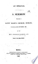 On Miracles  A sermon preached in Saint Mary s Church  Dublin  on the 21st and 28th September  1823