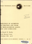 Influence of Aluminum on Friction and Wear of Iron aluminum Alloys Dry and Lubricated Book
