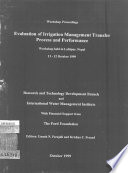 Workshop proceedings, Evaluation of Irrigation Management Transfer Process and Performance, Lalitpur, Nepal, 11-12 October 1999.