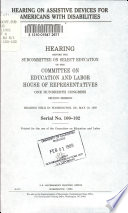 Hearing On Assistive Devices For Americans With Disabilities