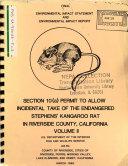 Stephen's Kangaroo Rats Incidental Take Allowance Permit, Riverside, Moreno Valley, Lake El Sinore Hermet, Perris