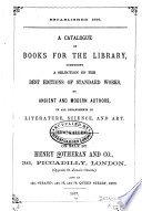 A Catalogue Of Books For The Library