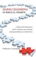 Hapax Legomena in Biblical Hebrew