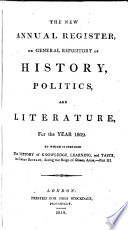 The New annual register  or General repository of history  politics  and literature