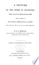 A Lecture on the Storm in Wiltshire  which Occurred on the 30th of December  1859